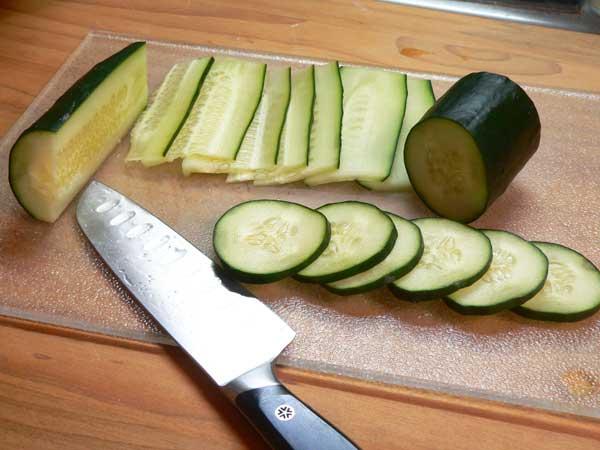 Cucumber Sandwiches,slice the cucumbers.