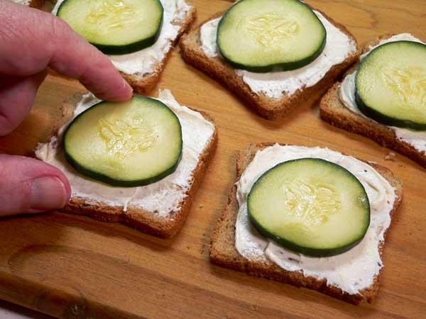 Cucumber Sandwiches,add a slice of cucumber.
