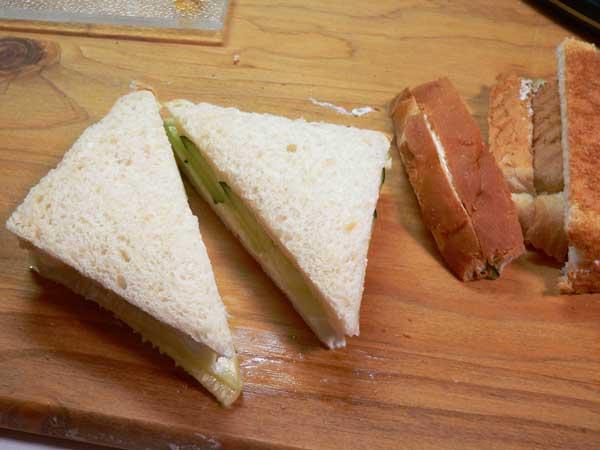 Cucumber Sandwiches, trim the edges.