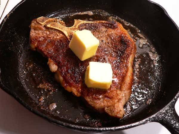 Skillet Steak, add some butter.