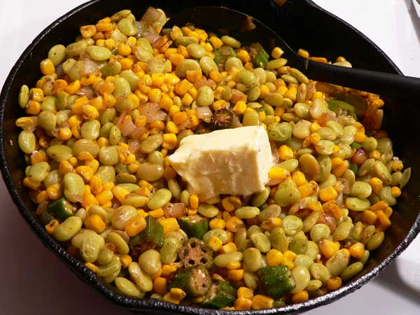 Succotash, add the butter.