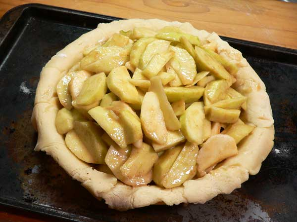 Apple Pie, add apples to pie plate.