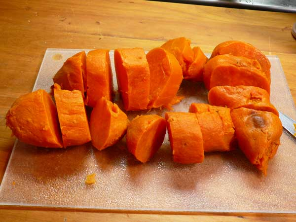Candied Yams, slice the potatoes.