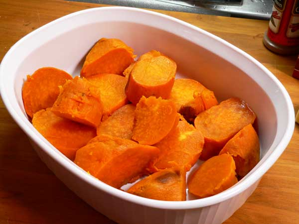 Candied Yams, place in baking dish.