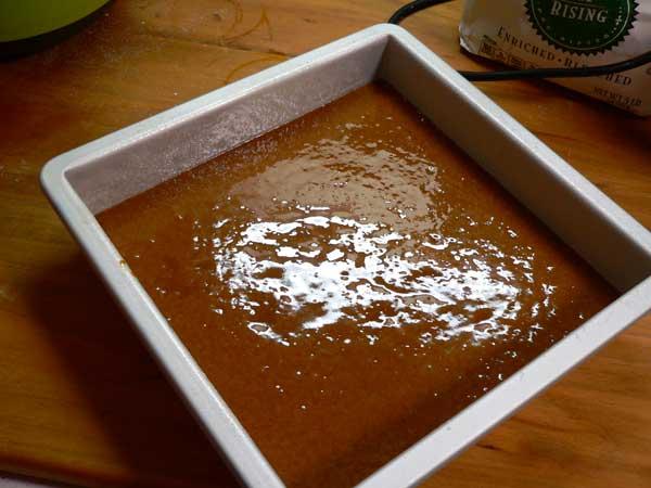 Gingerbread, add batter.