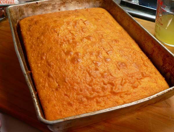 Punch Bowl Cake, prepare the sheet cake.