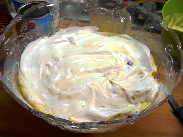 Punch Bowl Cake, add cool whip.
