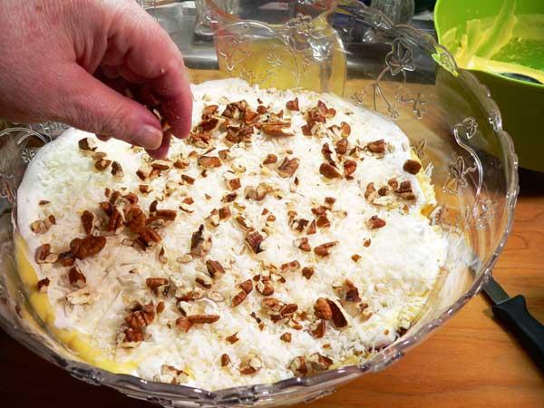 Punch Bowl Cake, add pecans.