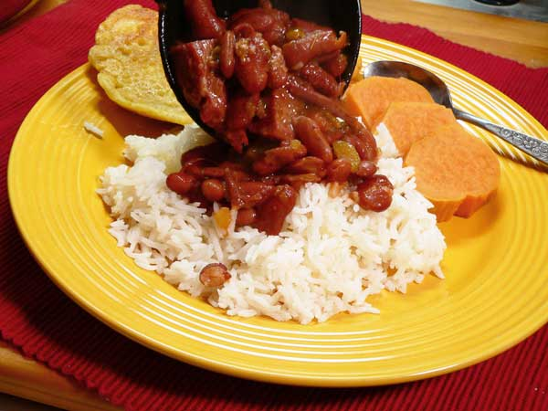 Red Beans and Rice, ladle over rice.