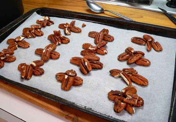 Turtle Candy, prepare the pecans.