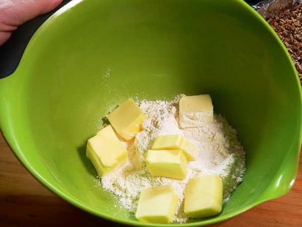 Butter Pecan Meltaways, add the butter.
