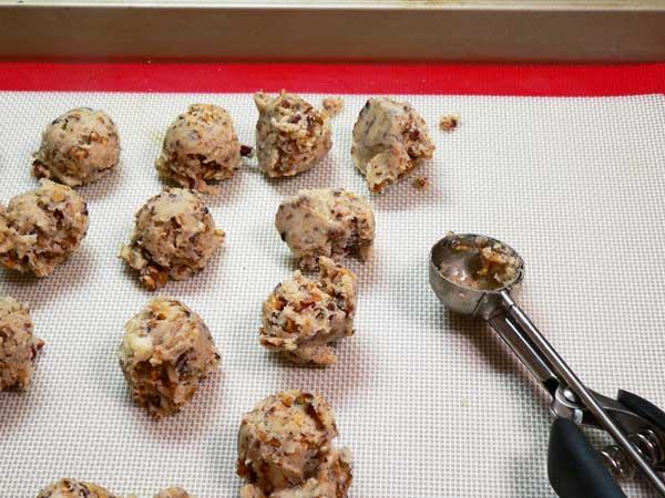 Butter Pecan Meltaways, divide the dough.