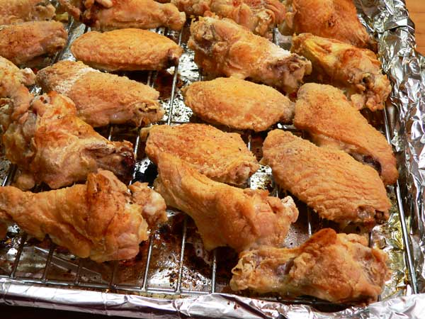 Chicken Wings, bake until browned.