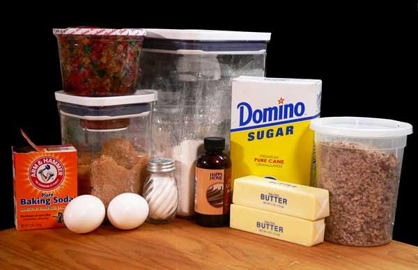Fruitcake Cookies, ingredients.