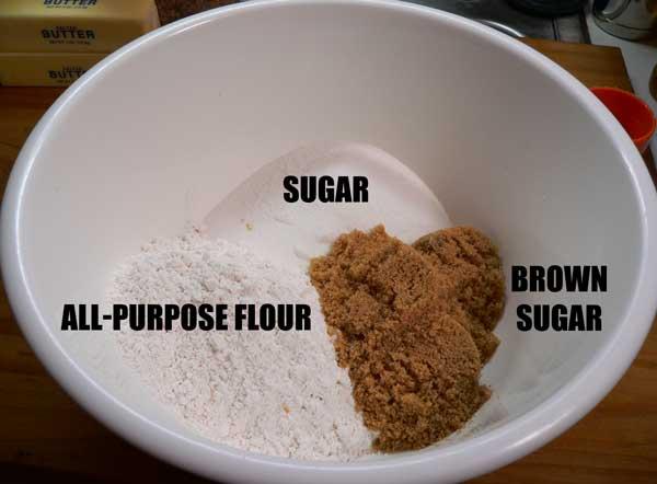 Fruitcake Cookies, add flour and sugars.