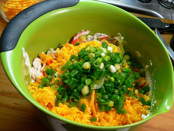 Crab Dip, add the sliced onion.