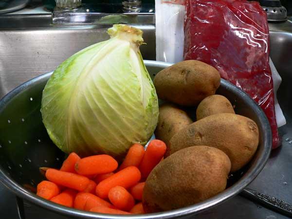 Corned Beef Brisket, rinse the vegetables.