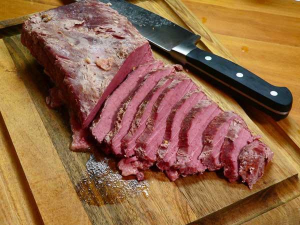Corned Beef Brisket, slice across the grain.