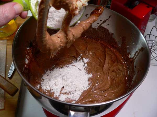 German Chocolate Cake, add flour.