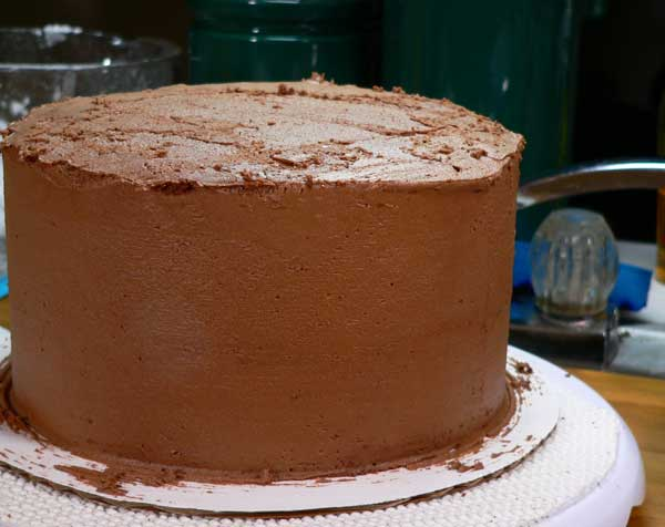 German Chocolate Cake,smooth the sides.