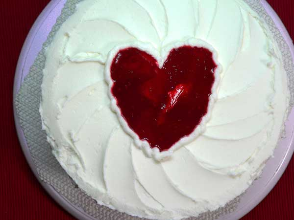 Raspberry Heart Cake, heart on top.