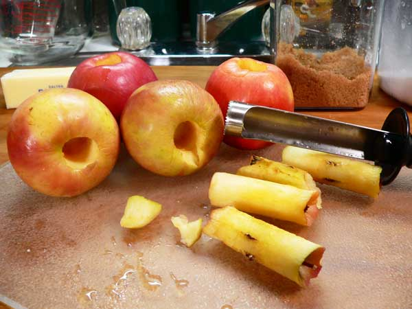 Fried Apples, remove apple cores.