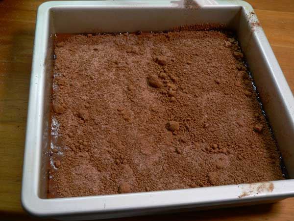 Chocolate Cobbler, spread over the batter.