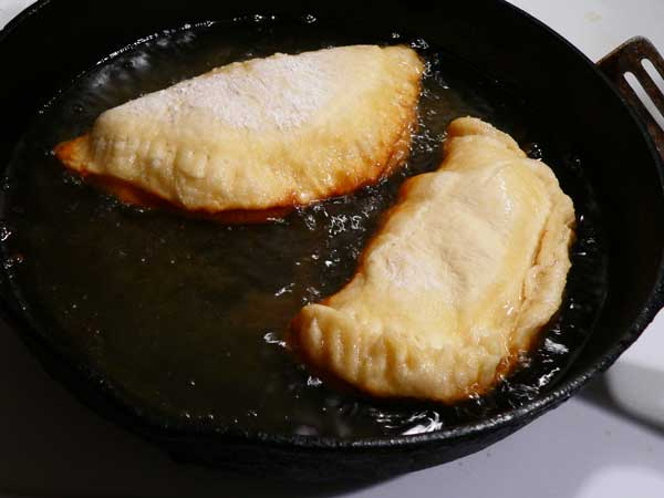 Peach Hand Pies, fry the pie.