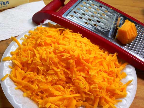 Loaded Potato Casserole, grate the cheese.