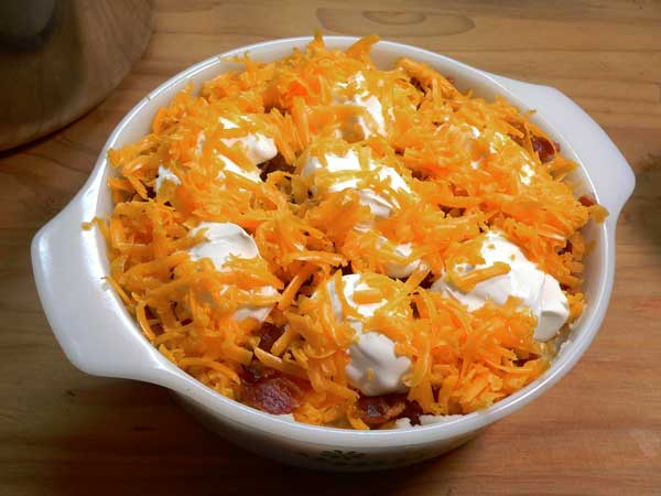 Loaded Potato Casserole, add remaining cheese.