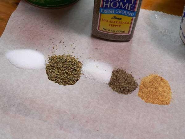 Lasagna, measure the spices.