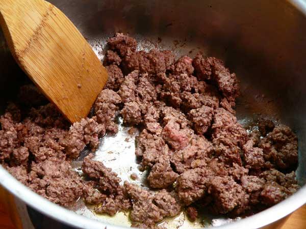 Lasagna, brown the ground beef.