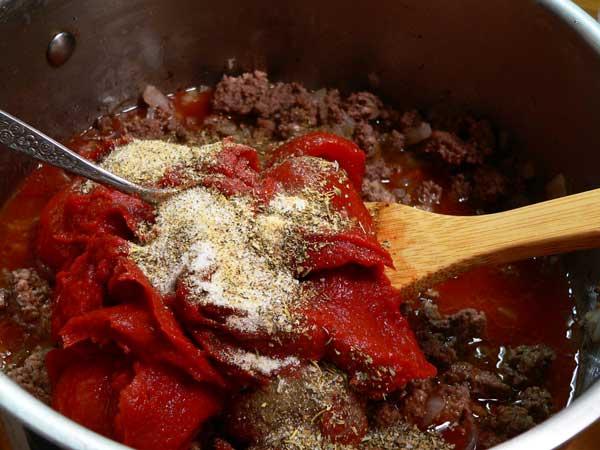 Lasagna, add the spices.