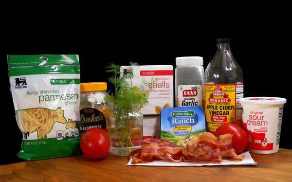 Bacon Ranch Pasta Salad, ingredients.