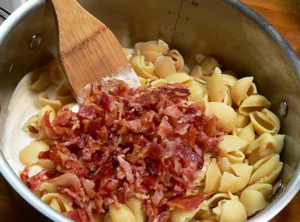 Bacon Ranch Pasta Salad, add the bacon.