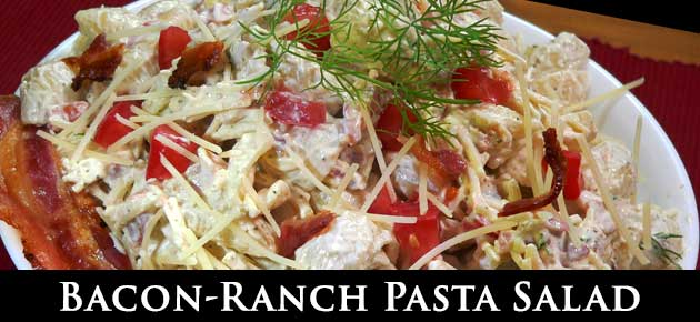 Bacon Ranch Pasta Salad, slider.