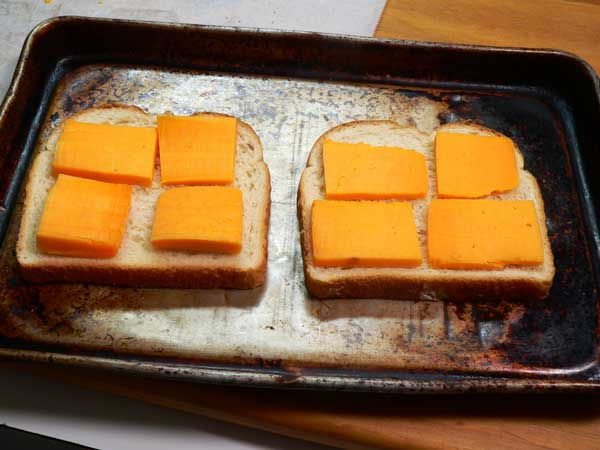 Hoop Cheese Toast, place on bread.
