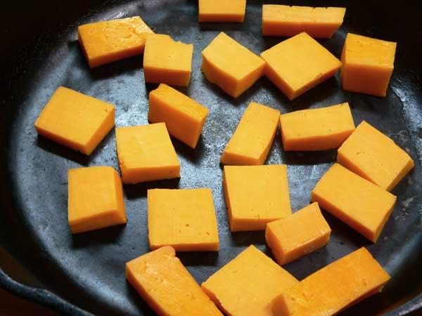 Hoop Cheese Toast, cut in cubes.