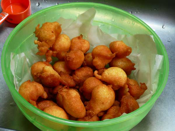 Hushpuppies, remove to a bowl when done.