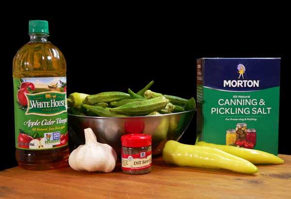 Pickled Okra, ingredients.