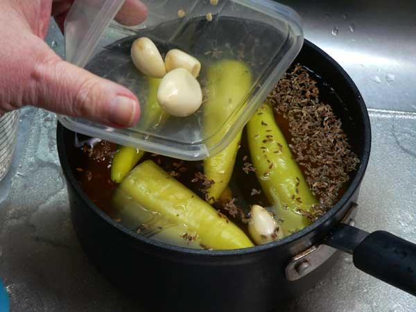 Pickled Okra, add the garlic.