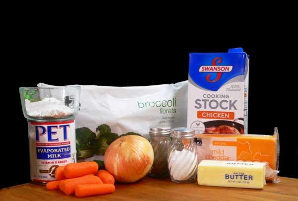 Broccoli Cheddar Soup, ingredients.