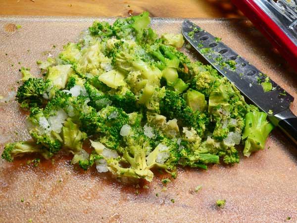 Broccoli Cheddar Soup, chop the broccoli.