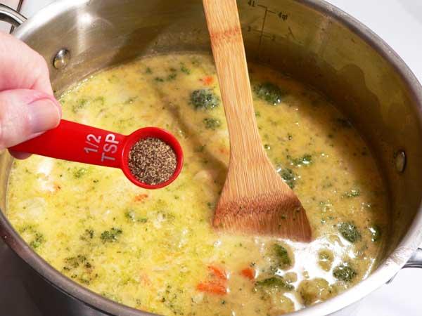 Broccoli Cheddar Soup, add black pepper.