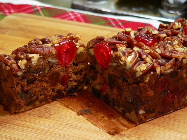 Jane Parker Chocolate Fruitcake, sliced.