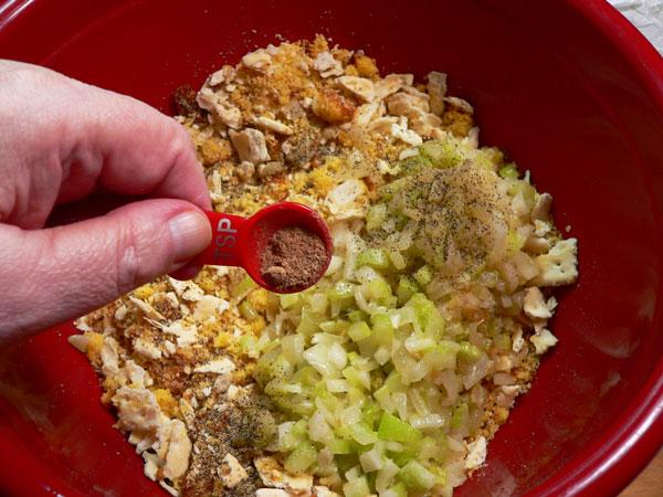Oyster Dressing, add nutmeg.