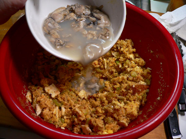 Oyster Dressing, add the chopped oysters.