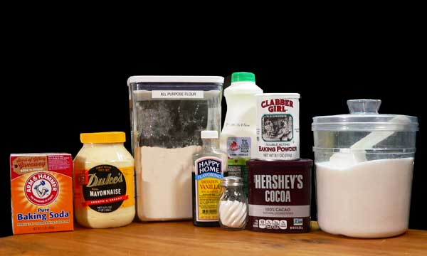 Mayonnaise Cake, ingredients for the cake.