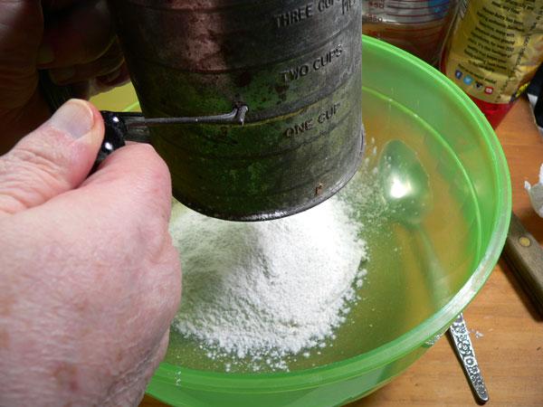 Carrot Cake, sift flour.