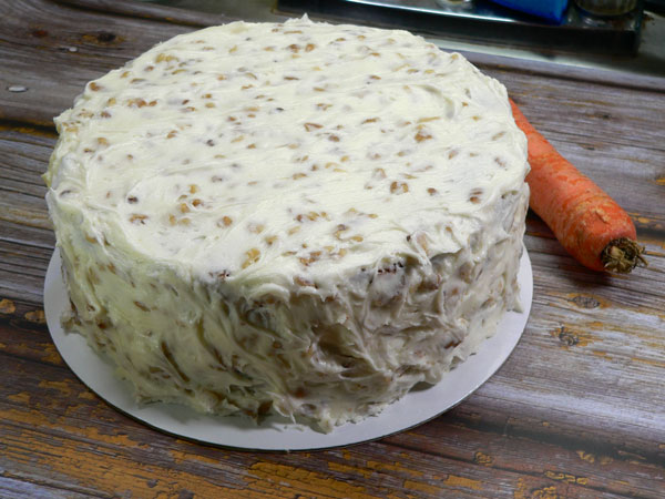 Carrot Cake, ready to cut.